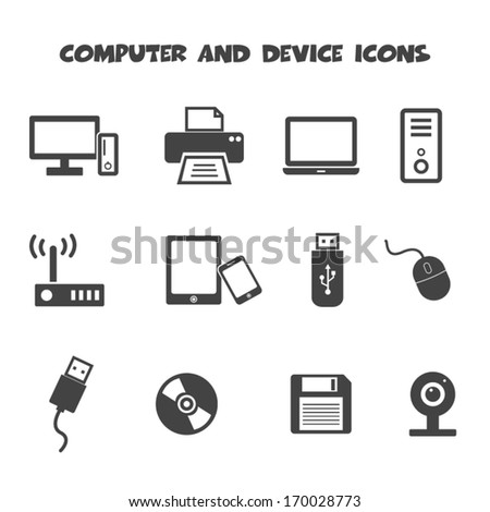computer and device icons, mono vector symbols
