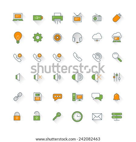 Computer and technology flat design icon set. Computer, phone, security, mail