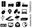 Computer and technology related icons and symbols - stock vector