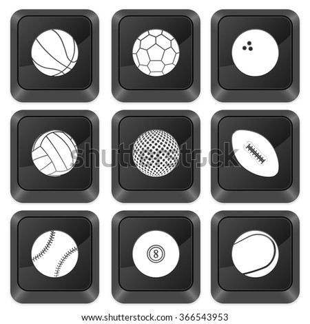 Computer buttons sports isolated on a white background. Vector illustration.