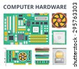 Computer hardware flat illustration concepts and flat icons set. Flat design graphic concepts for web banners, web sites, printed materials, infographics. Creative vector illustration - stock vector