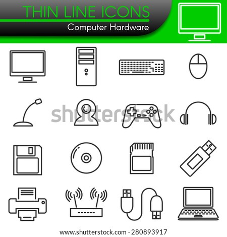 computer hardware symbol vector line icons