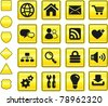 Computer Icon on Yellow Sign Button Collection Original Illustration - stock vector