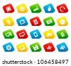 Computer icons on colored cut square buttons. Shadows are transparent - you can put it on every surface. 10 EPS - stock vector