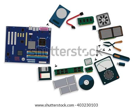 Heap Computer Hardware Isolated On White Stock Photo