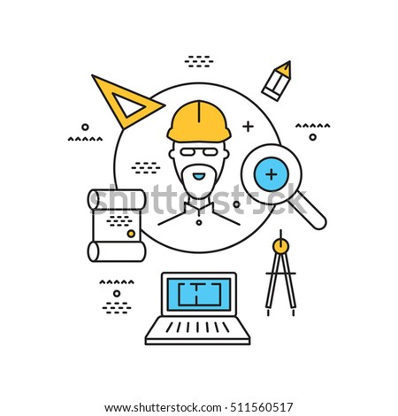 concept for finding architects, builders, engineers, vector thin linear flat illustration