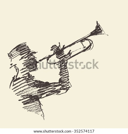 man playing the trumpet vintage hand drawn illustration sketch
