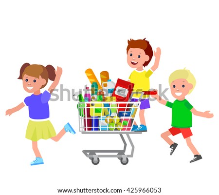 Concept illustration for Shop. Vector character kid playing together, riding supermarket shopping cart. Healthy eating and eco food