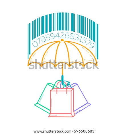 Concept Of Consumer Protection, In The Form Of An Umbrella Sheltering  Packages From The Rain
