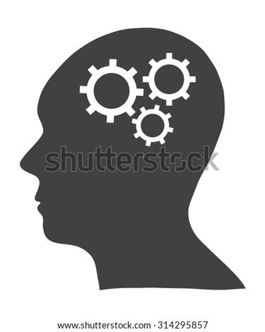 Concept of Human Head with Gears wheel, Vector Illustration EPS 10.