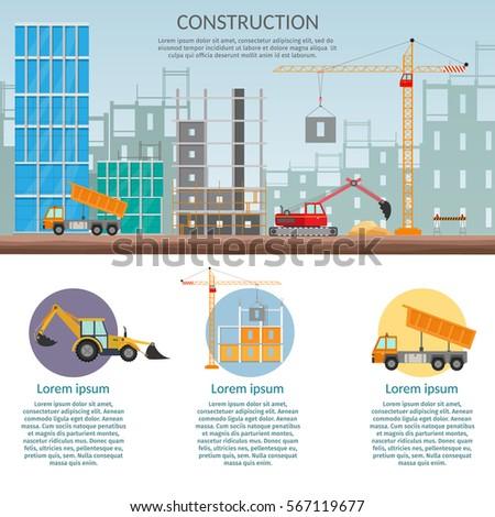 Concept Process Construction Building House Vector Stock
