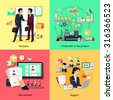 Concept of recruiting support and partnership. Partnership business, career and productivity collaboration, assistance working, strategy process development, professional management illustration - stock photo