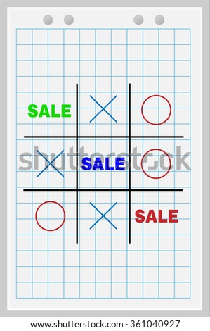 Concept of sale. Tic Tac Toe game with the word sale.