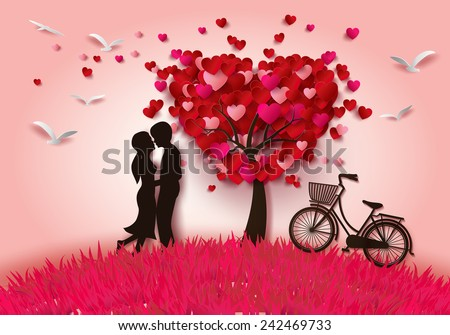 Concept Of Valentine Day , Two Enamored Under A Love Tree In The Spring  Season,