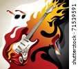 Conceptual background with electric guitar. Vector illustration. - stock vector