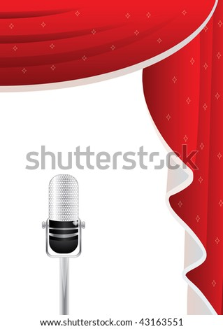 Conceptual illustration showing microphone at the front and curtains at the back
