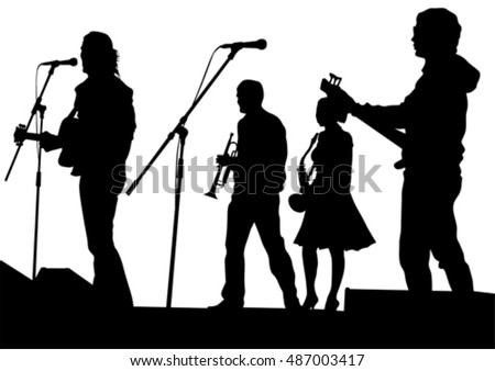 Concert of jazz music on white background