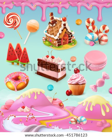 Confectionery and desserts, cake, cupcake, candy, lollipop, whipped cream, icing, set of vector graphics objects with sweet pink background