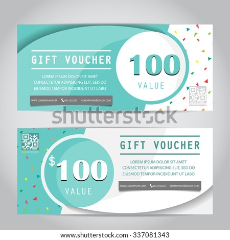 Gift Voucher Certificate Coupon Template Cute Stock Vector