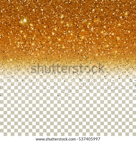 Confetti Glitters. Vector Festive Illustration of Falling Shiny Particles on Golden background. Sparkling Texture Isolated on Transparent Checkered Background. Holiday Decorative Tinsel Element for