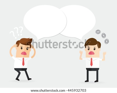 confused businessman talking and discussion with partnership or customer. bad communication