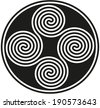 Connected Celtic Double Spirals - Four black and white celtic double spirals are forming a well known ancient celtic symbol. Vector illustration on white background. - stock vector