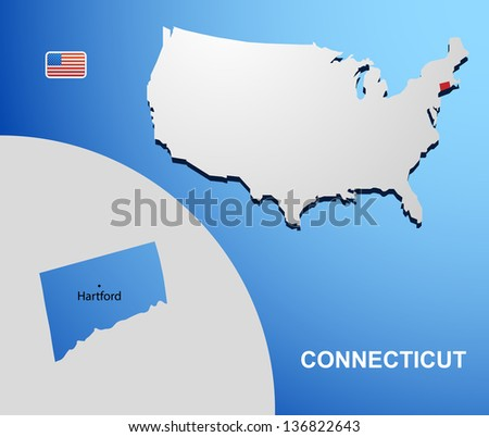 Connecticut on USA map with map of the state