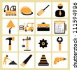 construct, structure, civil engineer, and tools icon set - stock vector
