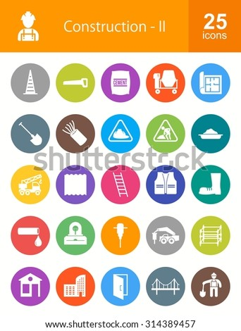 Construction and Buildings icon set. Suitable for web apps, mobile apps and print media.