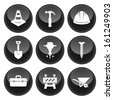 Construction Icons Glossy Button Icon Set - stock vector