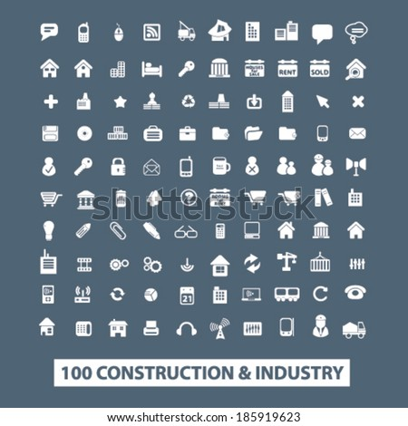 construction, industry icons set. vector