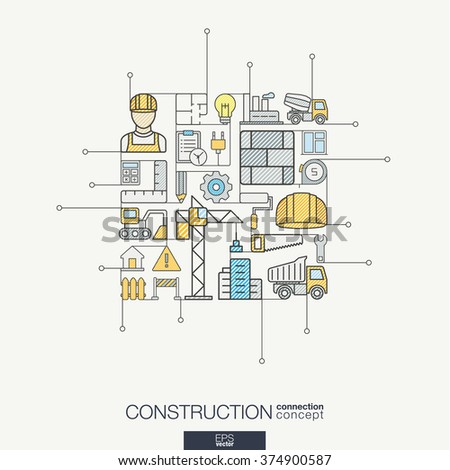Education integrated thin line symbols motion stock vector for Architectural engineering concepts