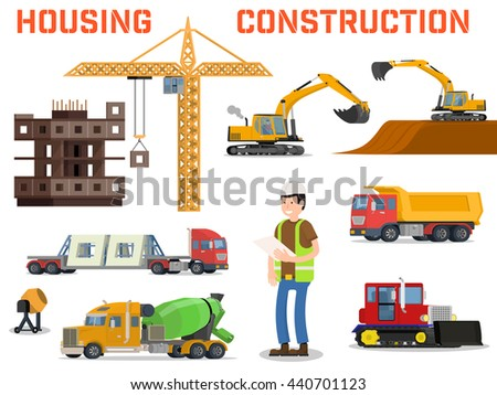 Set industry manufactory building icons plant stock vector for Process for building a house
