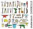 Construction tool collection - vector silhouette. Doodles. Isolated. - stock vector