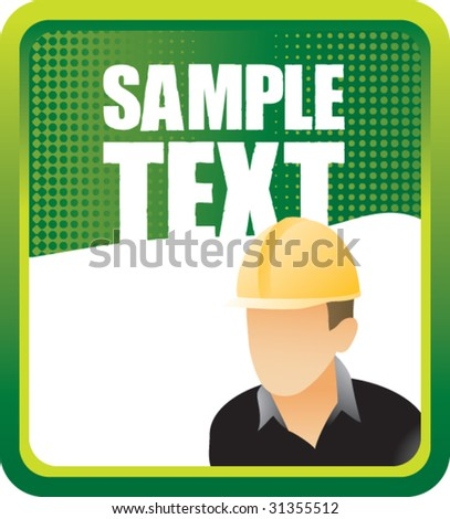 construction worker on green halftone banner