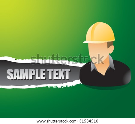 construction worker on ripped banner