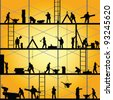 construction worker silhouette at work vector illustration - stock photo