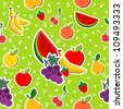 Contemporary sewing fruits seamless pattern. Vector illustration layered for easy manipulation and custom coloring. - stock