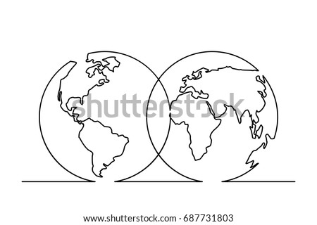 Continuous line drawing world map hemispheres vectores en stock continuous line drawing of world map in hemispheres vector illustration gumiabroncs Images