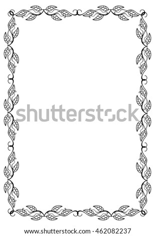 Contour floral frame with leaves. Vector clip art.