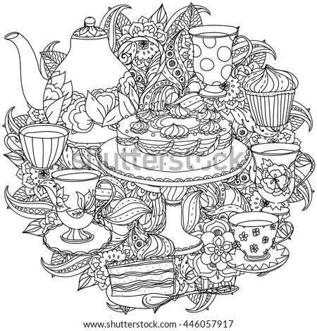 Zen Mandalas Coloring Book : Contoured cakes cupcakes sweets teapot cups stock vector 446057950