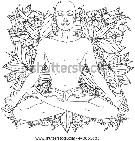 Contoured Man In Yoga Lotus Position For Meditation On Floral Ornamental Bacground Adult Coloring Book