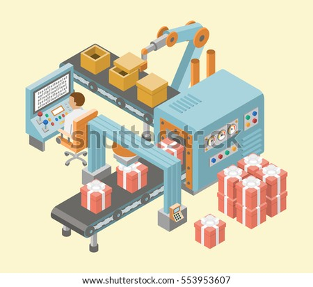 Conveyor system in flat design. Vector illustration. Conveyor belt with gift