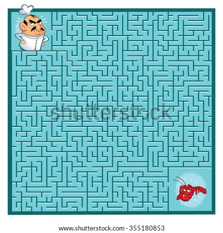 Cook's Maze Game (help the Cook find his lobster - Maze vector puzzle)