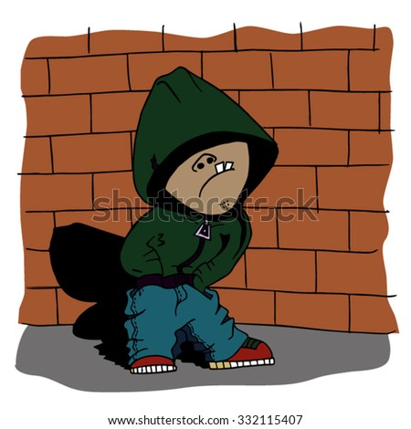 Cool dude in the hood stands near the brick wall. Vector illustration with hip hop man.