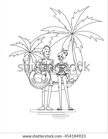 Cool Vector Flat Design Summer Beach Vacation Adult Couple With Seaside Sandy Palms Landscape On