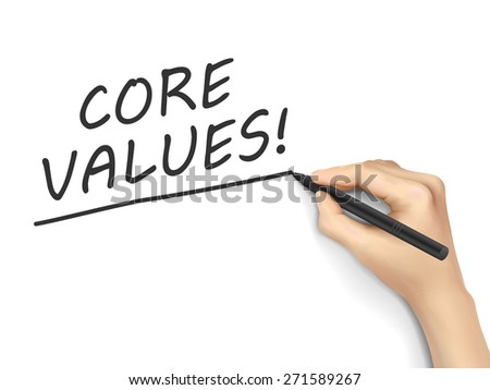 core values words written by hand on white background