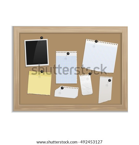 cork board with pinned paper notepad sheets realistic vector vector board for notes