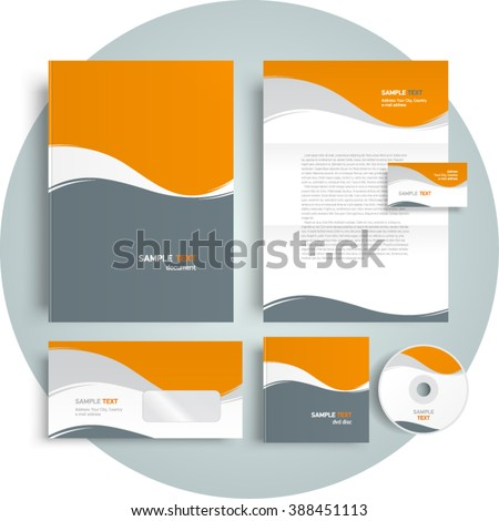 Corporate identity design template abstract curves