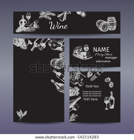 Corporate style - wine and cheese. Vector background sketch - branding